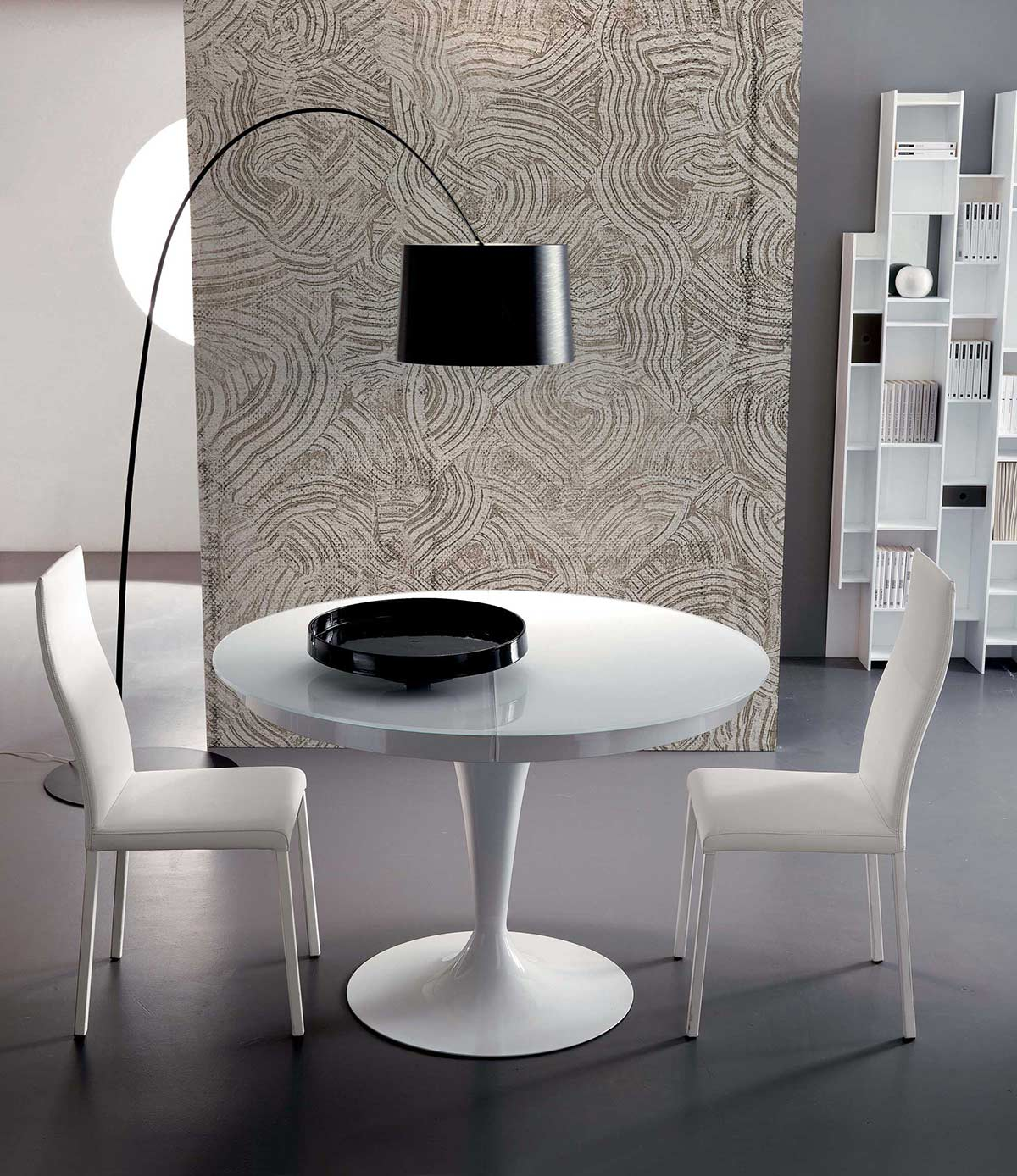 Elise circular dining table extendable yumanmod elise circular dining geotapseo Choice Image