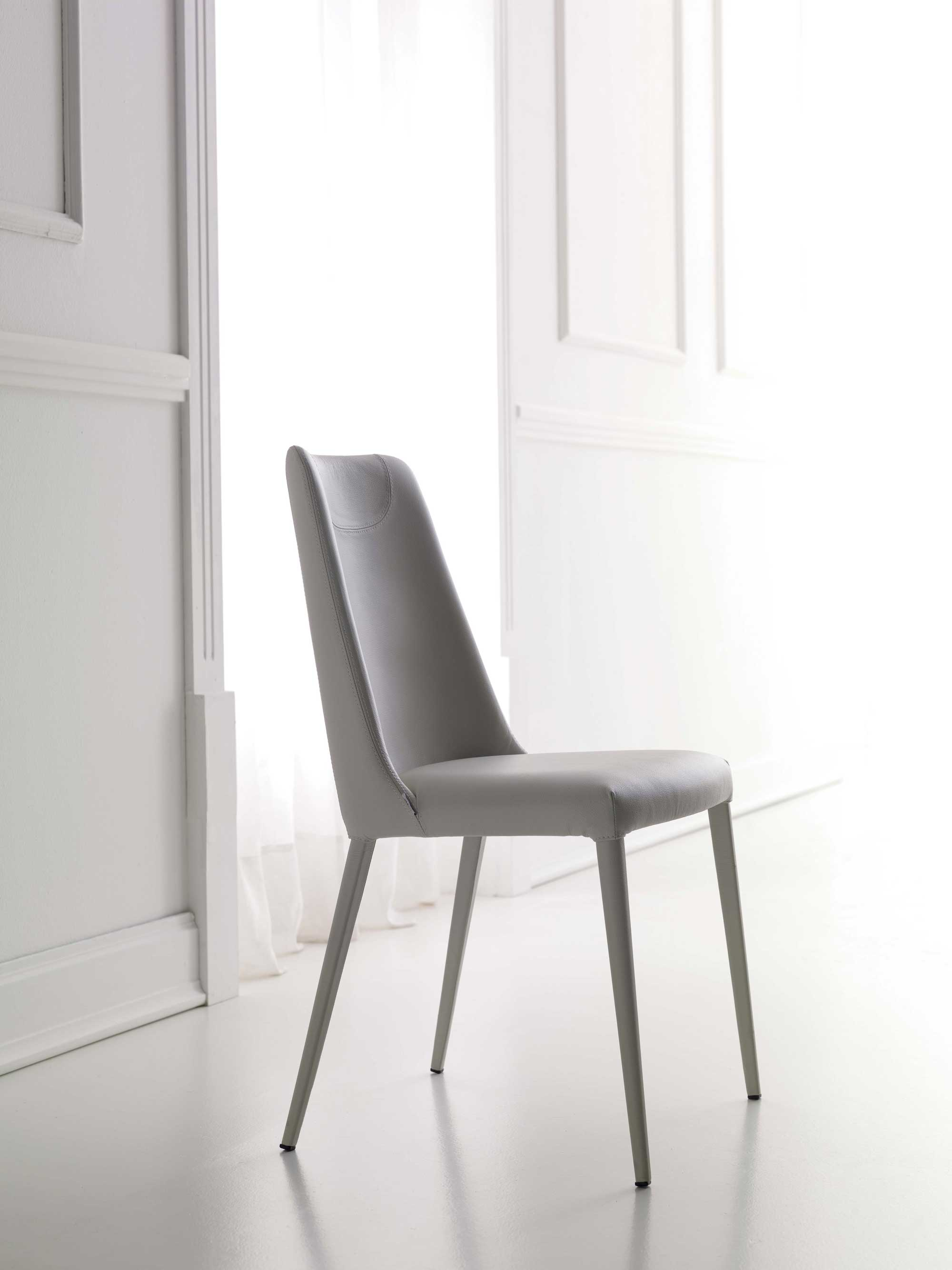 Sally Dining Chair Genuine Leather Upholstery YumanMod