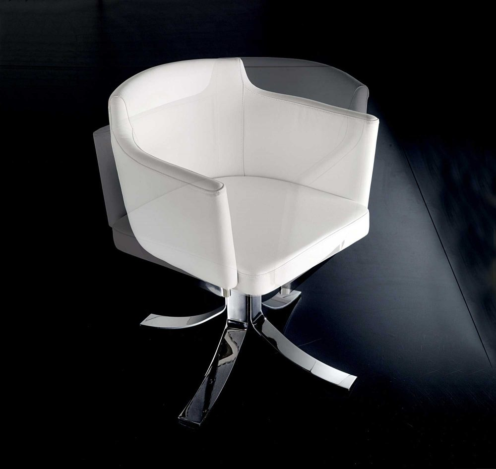 Agnese Swivel Leather Armchair