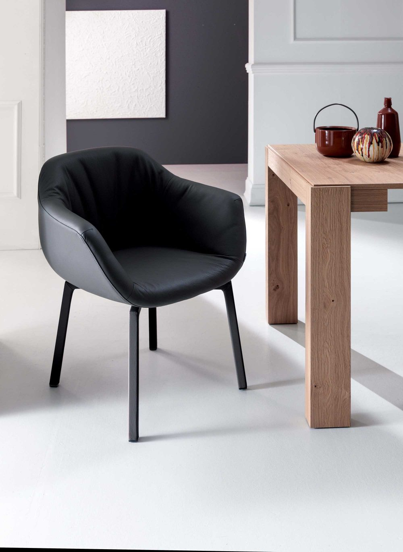 Swiveling Armchair Genuine Leather